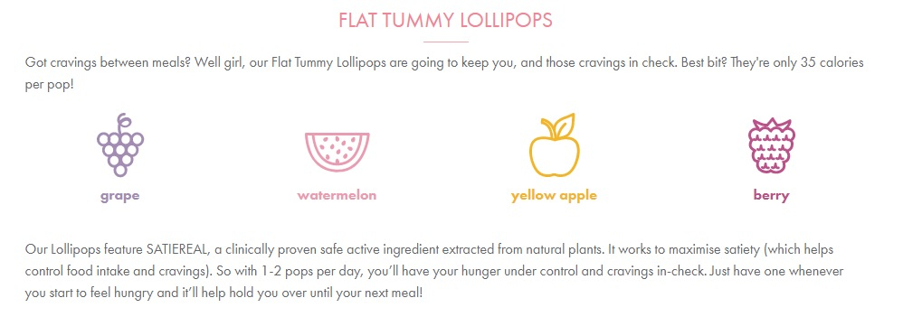 flat tummy lollipops info